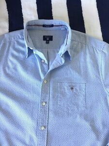 Mens Gant White With Light & Dark Blue Spotted 'Oxford' Shirt In XL