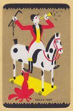 1 Single VINTAGE Swap/Playing Card EN DECO MAN HORSE FOX 'TALLY HO TA-1-1-A'