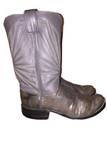 ML Leddy Gray Full Quill Ostrich Leather Boots Custom Made Women's SZ 7.5-8