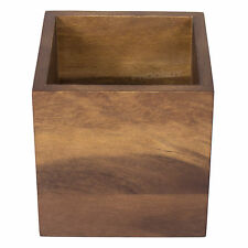 Square Wooden Kitchen Utensil Storage Jar Cutlery Holder Caddy Tidy Dining Table