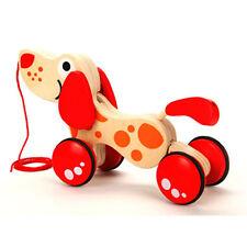 "Hape E0347 Dog "" Puppy "" Pull Along Animal Wood Pulling Toy NEW! #"