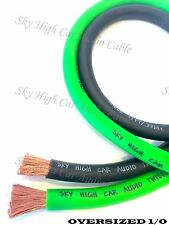 50 ft 1/0 Gauge AWG 25' BLACK & 25' GREEN Oversized Power Ground Wire Sky High