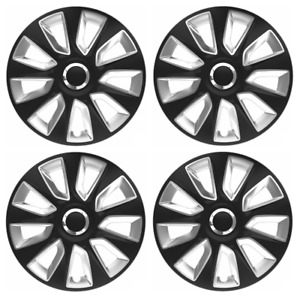 """FIT INSIGNIA SET OF 4 17"""" WHEEL TRIMS COVERS SILVER BLACK HUB CAPS 17 INCH"""