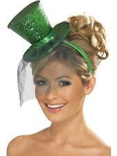 Mad Hatter Alice Green Glitter Burlesque Mini Top Hat & Veil Fancy Dress