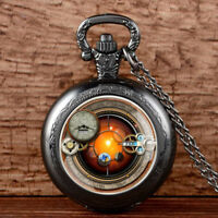 Vintage Steampunk Gears Antique Pocket Watch Chain Necklace Pendant Gift Retro