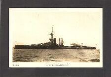 REAL-PHOTO POSTCARD:  H.M.S. MARLBOROUGH - BRITISH NAVY WW-1 BATTLESHIP - Unused