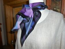 "Jones New York Blue, Black, Grey & Purple Geometric Polyester Scarf 20"" x 20"""
