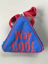 """Vintage 1980s Soft Side Insulated Lunch Box Bag Triangle """"Way Cool"""" Blue Red Nos"""