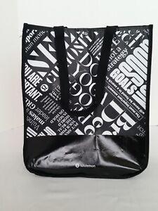 Lululemon Reusable Shopping HOLIDAY Gift Bag Large Tote SEEK Black White NEW