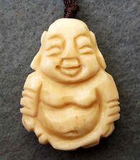Tibet Bone Buddhist Happy Buddha Amulet Pendant Talisman