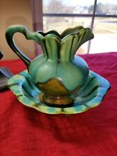 Handmade pottery Pitcher and Bowl / Basin Blue Green Brown Pretty!