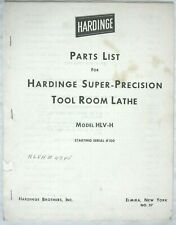 Hardinge tool room lathe Parts List model Hlv-H