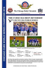 """2016 WORLD SERIES CHAMPIONS CHICAGO CUBS HEADLINES POSTER THE CURSE - 12"""" X 18"""""""