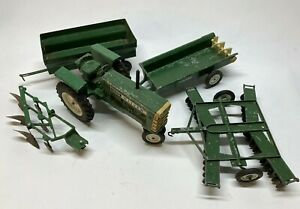 Vtg Rare Ertl 1/16 Oliver 1855 Tractor 5 Piece Set Plow Wagon Harrow & Wagon