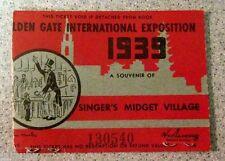1939 GOLDEN GATE INTERNATIONAL EXPOSITION TICKET w/ BOB HOPE AUTO Midget Village