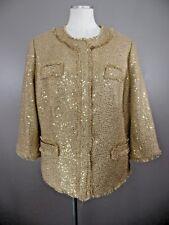 CHICOS Womens 3 Noelle Goldie Tweed 3/4 Sleeve Jacket Arabian Camel NWT $159