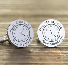 Personalised Clock Time Message Date Round Cufflinks Stag Do Wedding Birthday