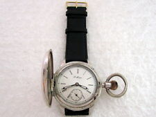 Paul Moser Antique IWC 1900's Swiss Art Deco Half Hunter Silver Men's Watch
