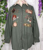 Bobbie Brooks 14W/16W Embroidered / Appliqued Fall Theme Blouse Women's Shirt