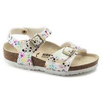 Birkenstock RIO 1019751 (Reg) Girls Summer Two Strap Sandals Confetti White Pop