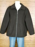 Claiborne Outerwear Brown Sherpa Lined Full Zip Bomber Jacket Mens Size Large L