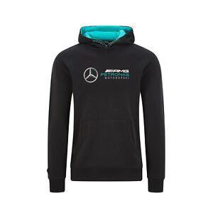 Official Mercedes-AMG Petronas F1 Men's Logo Hooded Sweatshirt BLK Free UK Ship