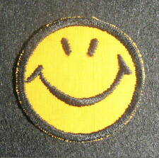 "SMILEY FACE EMBROIDERED SEW OR IRON ON PATCH FUNNY 2"" round"