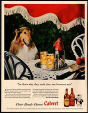1946 Calvert Whiskey - Cute Rough Collie Puppy Dog - Lassie - Alcohol Vintage Ad