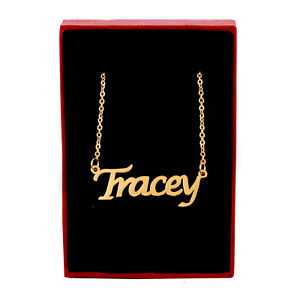 TRACEY Name Necklace Stainless Steel / 18ct Gold Plated | Pendant Gifts For Her