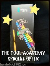 WERA TOOLS COLOUR HEX ALLEN KEY SET EXTRA LONG 1.5mm - 10mm * BOXED AND CLIP