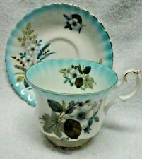 Royal Albert Blue Edge Grey Roses And Foliage   Cup and Saucer
