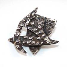 Artisan Sterling Silver Abstract Brutalist Pin Brooch Heavy