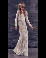 """NWT ALEXIS """"VICE"""" WHITE TAN EMBROIDERED GOWN DRESS L"""