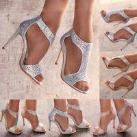 Ladies Diamante Sandals High Heel Glitter TBar Bridal Ankle Straps Evening Shoes