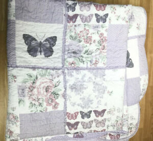 Kirkton House Butterfly Throw Bedspread Purple Patchwork Scalloped King 254-264