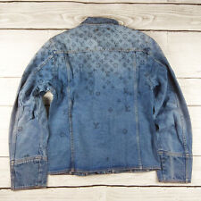 LOUIS VUITTON MEN'S JACKET MONOGRAM LIGHT BLUE DENIM SIZE L