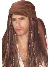 Adulto Pirata Bandana Parrucca Fancy Dress Costume Caraibi Jack Sparrow Da Uomo miliardi