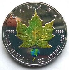 Canada 2004 Green Maple Leaf 5 Dollars 1oz Colour Silver Coin