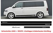 VW T4 T5 T6 Seitenstreifen MULTIVAN Auto Aufkleber Dekor  Set Schwarz Matt