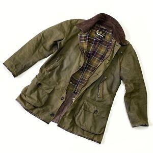 Men's Barbour LONGHURST Waxed Green Olive Jacket Wax Coat Size L