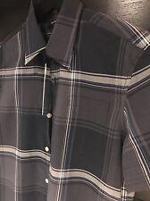 Bnwt Men's Authentic Full Circle Short Sleeve Grey Blue Checked Shirt Small