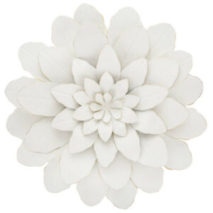 Large White Flower Metal Wall Décor. Fancy Floral Accent