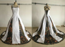 Real Photo White Camo Wedding Dress Bridal Gown Lace Western Country Weddings