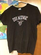 USS Midway San Diego T-shirt 41 Women's Medium Brown Pink Distressed Navy EUC