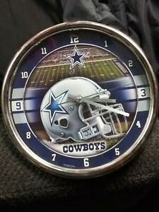 Dallas Cowboys 12 Inch CHROME Clock - Perfect for Man Cave or Office!!