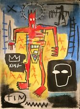 JEAN-MICHEL BASQUIAT ORIGINAL HAND  DRAWN AND SIGNED * TIN KING * WATERCOLOR