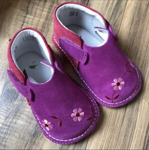 Pipit Flower Suede Shoes in Fuchsia & Strawberry Baby Girl Size 4