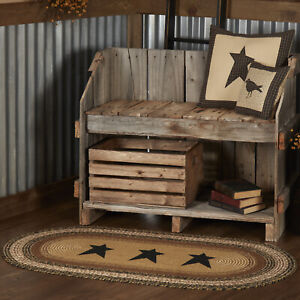 VHC Kettle Grove Stencil Stars Primitive Country Oval Braided Rug W/Pad