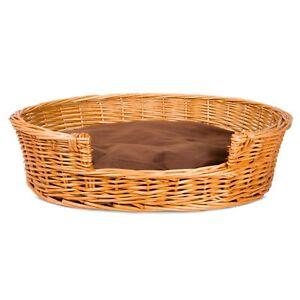 Wickerfield Oval Honey Wicker Dog Pet Bed Basket Sofa Puppy Cat Natural Wicker