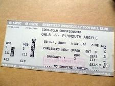 Ticket- OWLS v PLYMOUTH ARGYLE, Coca Cola Championship, 28 October 2008